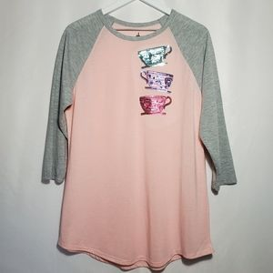 Mad Tea Party Sequined Baseball T-Shirt